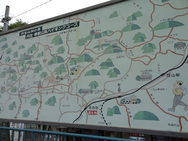 丹生山系ハイキングコース案内図