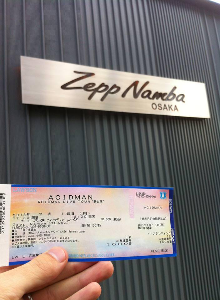 Zepp NambaとACIDMANライブチケット